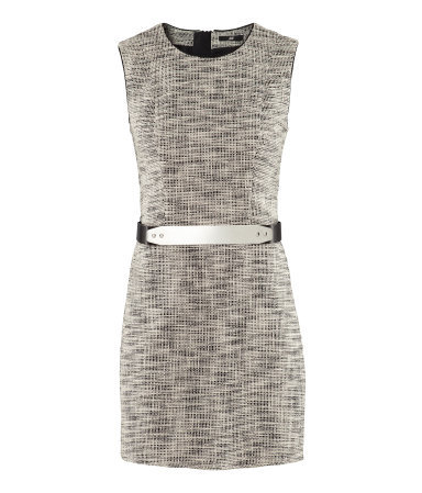 Dress - style: shift; length: mini; fit: tailored/fitted; sleeve style: sleeveless; pattern: herringbone/tweed; waist detail: belted waist/tie at waist/drawstring; predominant colour: mid grey; occasions: casual, evening; fibres: cotton - mix; neckline: crew; sleeve length: sleeveless; texture group: cotton feel fabrics; trends: glamorous day shifts; pattern type: fabric; pattern size: standard; season: s/s 2013