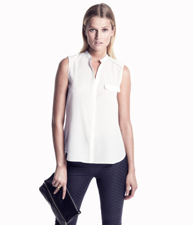Blouse - pattern: plain; sleeve style: sleeveless; bust detail: pocket detail at bust; style: blouse; predominant colour: white; occasions: casual, evening, work; length: standard; neckline: collarstand & mandarin with v-neck; fibres: polyester/polyamide - 100%; fit: straight cut; sleeve length: sleeveless; texture group: sheer fabrics/chiffon/organza etc.; pattern type: fabric; pattern size: standard; season: s/s 2013