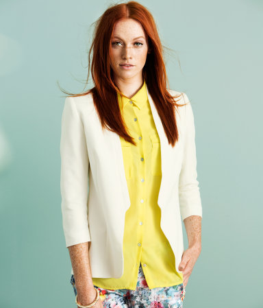 Jacket - pattern: plain; style: single breasted blazer; collar: standard lapel/rever collar; predominant colour: ivory/cream; occasions: casual, evening, work, occasion; length: standard; fit: tailored/fitted; fibres: polyester/polyamide - mix; sleeve length: 3/4 length; sleeve style: standard; collar break: low/open; pattern type: fabric; texture group: other - light to midweight; season: s/s 2013