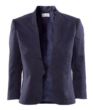 Jacket - style: single breasted blazer; collar: standard lapel/rever collar; predominant colour: navy; occasions: casual, evening, work; length: standard; fit: tailored/fitted; fibres: polyester/polyamide - mix; sleeve length: 3/4 length; sleeve style: standard; collar break: low/open; pattern type: fabric; pattern size: standard; pattern: patterned/print; texture group: woven light midweight; season: s/s 2013