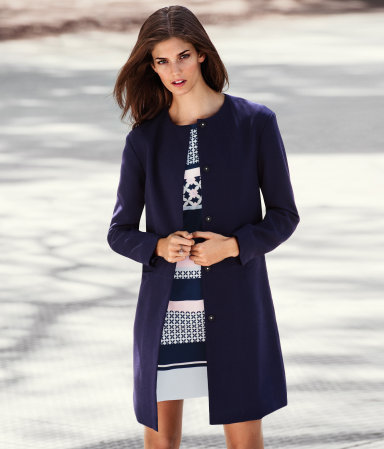 Coat - pattern: plain; collar: round collar/collarless; style: single breasted; length: mid thigh; predominant colour: navy; occasions: casual, evening, work, occasion; fit: straight cut (boxy); fibres: polyester/polyamide - mix; sleeve length: long sleeve; sleeve style: standard; collar break: high; pattern type: fabric; pattern size: standard; texture group: woven light midweight; season: s/s 2013