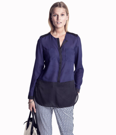 Blouse - neckline: round neck; length: below the bottom; style: blouse; shoulder detail: contrast pattern/fabric at shoulder; predominant colour: navy; occasions: casual, work; fibres: polyester/polyamide - 100%; fit: straight cut; hip detail: contrast fabric/print detail at hip; sleeve length: long sleeve; sleeve style: standard; texture group: sheer fabrics/chiffon/organza etc.; pattern type: fabric; pattern: colourblock; season: s/s 2013