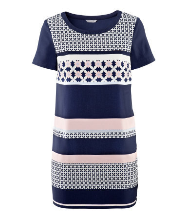 Dress - style: shift; length: mid thigh; neckline: round neck; fit: loose; predominant colour: navy; occasions: casual, evening, occasion, holiday; fibres: polyester/polyamide - stretch; sleeve length: short sleeve; sleeve style: standard; texture group: structured shiny - satin/tafetta/silk etc.; pattern type: fabric; pattern size: standard; pattern: patterned/print; season: s/s 2013