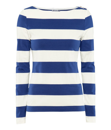 Top - neckline: round neck; pattern: horizontal stripes; predominant colour: royal blue; occasions: casual, work; length: standard; style: top; fibres: cotton - stretch; fit: body skimming; sleeve length: long sleeve; sleeve style: standard; pattern type: fabric; pattern size: standard; texture group: jersey - stretchy/drapey; season: s/s 2013