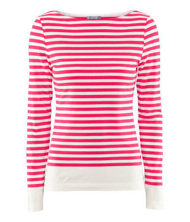 Top - neckline: round neck; pattern: horizontal stripes; style: t-shirt; predominant colour: true red; occasions: casual, work; length: standard; fibres: cotton - stretch; fit: body skimming; sleeve length: long sleeve; sleeve style: standard; trends: fluorescent; pattern type: fabric; pattern size: standard; texture group: jersey - stretchy/drapey; season: s/s 2013