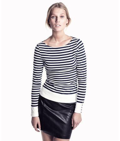 Top - neckline: round neck; pattern: horizontal stripes; predominant colour: navy; occasions: casual, work; length: standard; style: top; fibres: cotton - stretch; fit: body skimming; sleeve length: long sleeve; sleeve style: standard; pattern type: fabric; pattern size: standard; texture group: jersey - stretchy/drapey; season: s/s 2013