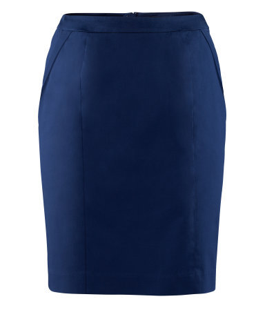 Pencil Skirt - pattern: plain; style: pencil; fit: tailored/fitted; waist: mid/regular rise; predominant colour: navy; occasions: casual, evening, work, holiday; length: just above the knee; fibres: cotton - stretch; hip detail: sculpting darts/pleats/seams at hip; texture group: structured shiny - satin/tafetta/silk etc.; pattern type: fabric; season: s/s 2013