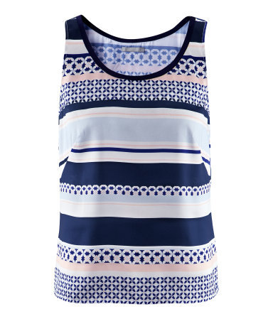 Top - pattern: horizontal stripes; sleeve style: sleeveless; style: vest top; predominant colour: navy; occasions: casual; length: standard; fibres: polyester/polyamide - 100%; fit: body skimming; neckline: crew; sleeve length: sleeveless; texture group: silky - light; pattern type: fabric; pattern size: standard; season: s/s 2013