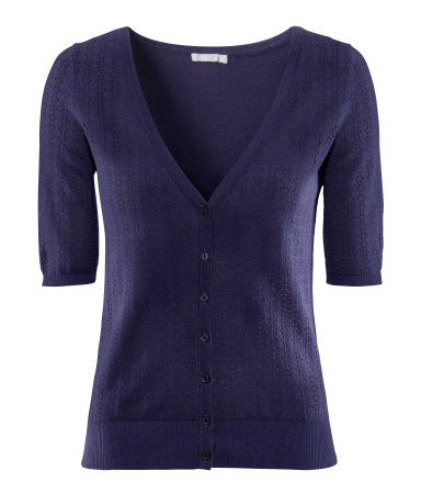 Cardigan - neckline: v-neck; bust detail: buttons at bust (in middle at breastbone)/zip detail at bust; predominant colour: navy; occasions: casual, work, holiday; length: standard; style: standard; fibres: cotton - mix; fit: standard fit; waist detail: fitted waist; sleeve length: short sleeve; sleeve style: standard; texture group: knits/crochet; pattern type: knitted - fine stitch; pattern size: standard; season: s/s 2013