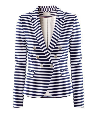Jacket - style: double breasted blazer; pattern: striped; collar: standard lapel/rever collar; predominant colour: navy; occasions: casual, evening, work; length: standard; fit: tailored/fitted; fibres: polyester/polyamide - mix; waist detail: fitted waist; sleeve length: long sleeve; sleeve style: standard; collar break: medium; pattern type: fabric; pattern size: standard; texture group: jersey - stretchy/drapey; season: s/s 2013