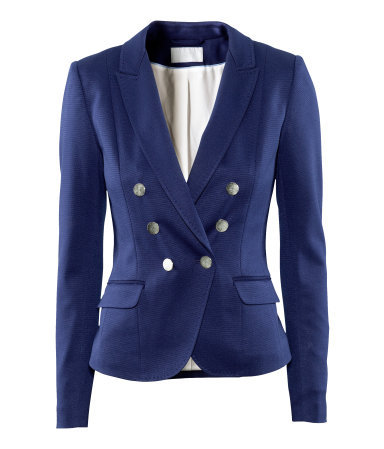 Jacket - pattern: plain; style: double breasted blazer; fit: slim fit; collar: standard lapel/rever collar; predominant colour: navy; occasions: casual, evening, work; length: standard; fibres: polyester/polyamide - mix; waist detail: fitted waist; sleeve length: long sleeve; sleeve style: standard; collar break: medium; pattern type: fabric; pattern size: standard; texture group: jersey - stretchy/drapey; season: s/s 2013
