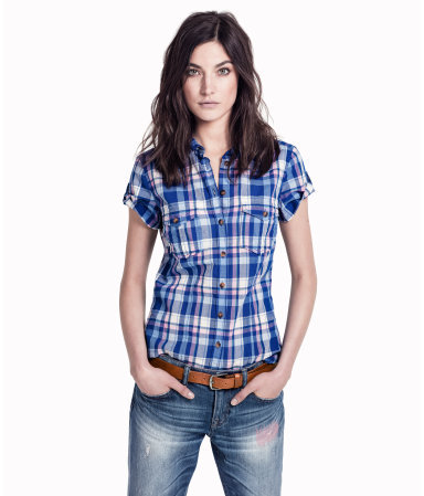 Shirt - neckline: shirt collar/peter pan/zip with opening; pattern: checked/gingham; style: shirt; bust detail: pocket detail at bust; predominant colour: royal blue; occasions: casual; length: standard; fibres: cotton - 100%; fit: tailored/fitted; sleeve length: short sleeve; sleeve style: standard; texture group: cotton feel fabrics; pattern type: fabric; pattern size: standard; season: s/s 2013