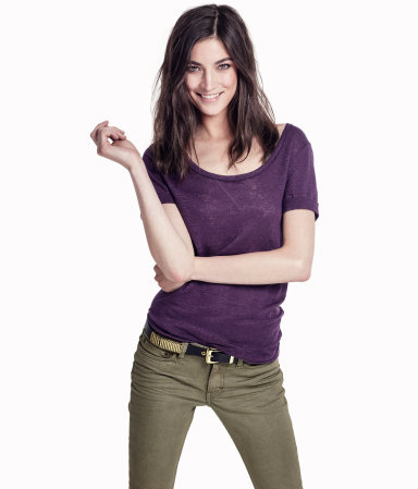Top - pattern: plain; style: t-shirt; predominant colour: purple; occasions: casual; length: standard; neckline: scoop; fibres: linen - 100%; fit: body skimming; sleeve length: short sleeve; sleeve style: standard; pattern type: fabric; texture group: jersey - stretchy/drapey; season: s/s 2013