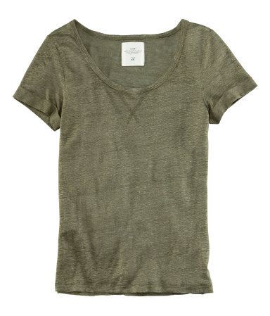 Top - pattern: plain; style: t-shirt; predominant colour: khaki; occasions: casual; length: standard; neckline: scoop; fibres: linen - 100%; fit: body skimming; sleeve length: short sleeve; sleeve style: standard; pattern type: fabric; texture group: jersey - stretchy/drapey; season: s/s 2013