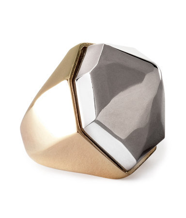 Ring - predominant colour: gold; occasions: casual, evening, occasion; style: cocktail; size: large/oversized; material: chain/metal; trends: metallics; finish: metallic; embellishment: chain/metal; season: s/s 2013