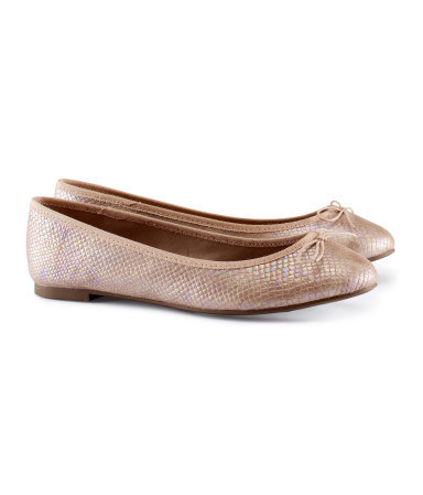 Ballet Pumps - predominant colour: nude; occasions: casual, evening, work, holiday; material: faux leather; heel height: flat; toe: round toe; style: ballerinas / pumps; trends: metallics; finish: metallic; pattern: plain; season: s/s 2013