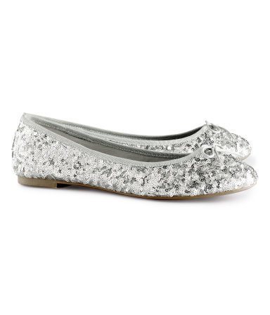 Ballet Pumps - predominant colour: silver; occasions: casual, evening, work, occasion, holiday; material: satin; heel height: flat; embellishment: sequins; toe: round toe; style: ballerinas / pumps; trends: metallics; finish: metallic; pattern: plain; season: s/s 2013