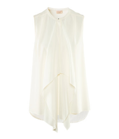 Top - pattern: plain; sleeve style: sleeveless; style: blouse; bust detail: subtle bust detail; predominant colour: ivory/cream; occasions: casual, evening, work, occasion; length: standard; fibres: polyester/polyamide - 100%; fit: loose; neckline: crew; sleeve length: sleeveless; texture group: sheer fabrics/chiffon/organza etc.; pattern type: fabric; season: s/s 2013