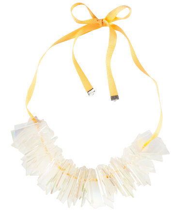 Necklace - predominant colour: white; occasions: casual, evening, work, occasion, holiday; length: short; size: large/oversized; material: plastic/rubber; finish: plain; embellishment: beading; style: bib/statement; season: s/s 2013