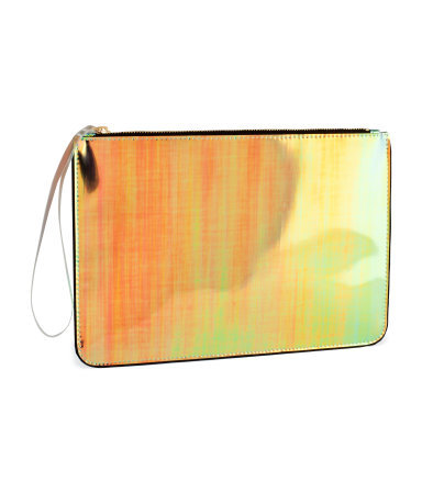 Clutch - occasions: casual, evening, occasion; predominant colour: multicoloured; type of pattern: light; style: clutch; length: hand carry; size: standard; material: faux leather; pattern: plain; trends: fluorescent, metallics; finish: metallic; season: s/s 2013; multicoloured: multicoloured