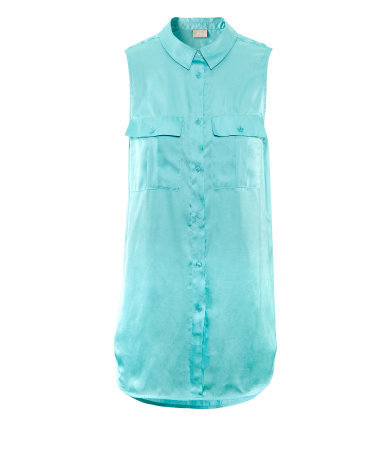 Blouse - neckline: shirt collar/peter pan/zip with opening; pattern: plain; sleeve style: sleeveless; length: below the bottom; bust detail: pocket detail at bust; style: blouse; predominant colour: turquoise; occasions: casual, evening, work; fibres: polyester/polyamide - 100%; fit: straight cut; sleeve length: sleeveless; texture group: silky - light; pattern type: fabric; pattern size: standard; season: s/s 2013