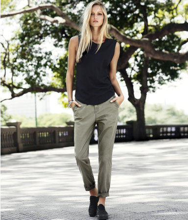 Chinos - pattern: plain; pocket detail: small back pockets, pockets at the sides; waist: mid/regular rise; predominant colour: khaki; occasions: casual; length: ankle length; style: chino; fibres: cotton - stretch; waist detail: narrow waistband; jeans & bottoms detail: turn ups; texture group: cotton feel fabrics; fit: straight leg; pattern type: fabric; season: s/s 2013
