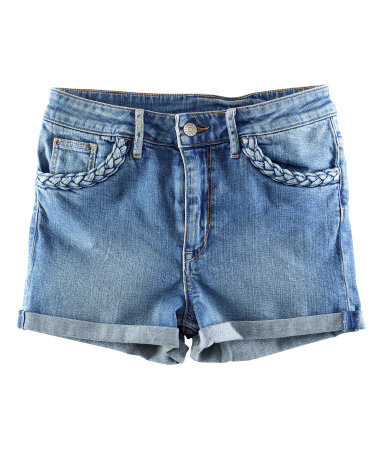 Denim Shorts - pattern: plain; waist detail: fitted waist; pocket detail: large back pockets, pockets at the sides, traditional 5 pocket; waist: mid/regular rise; predominant colour: denim; occasions: casual; fibres: cotton - stretch; texture group: denim; pattern type: fabric; season: s/s 2013; style: denim; length: short shorts; fit: slim leg