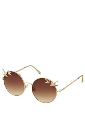 Swallow Trim Round Sunglasses - predominant colour: gold; occasions: casual, holiday; style: round; size: standard; material: chain/metal; pattern: plain; finish: metallic; season: s/s 2013