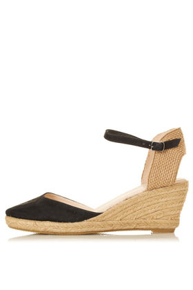 Wade Closed Toe Espadrilles - predominant colour: black; occasions: casual, work, holiday; material: suede; heel height: mid; ankle detail: ankle strap; heel: wedge; toe: round toe; style: slingbacks; finish: plain; pattern: plain; season: s/s 2013