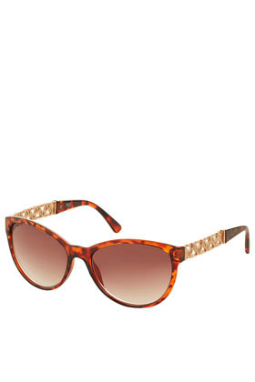 Heart Chain Cat Eye Sunglasses - predominant colour: gold; occasions: casual, holiday; style: cateye; size: standard; material: plastic/rubber; embellishment: studs; pattern: tortoiseshell; finish: metallic; season: s/s 2013