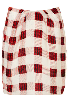 Silk Devore Check Slouch Skirt Boutique - length: mid thigh; pattern: checked/gingham; fit: body skimming; hip detail: fitted at hip; waist: mid/regular rise; predominant colour: true red; occasions: casual, work; style: a-line; fibres: silk - 100%; trends: modern geometrics; pattern type: fabric; texture group: woven bulky/heavy; season: s/s 2013; pattern size: standard (bottom)