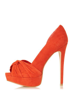 Sylvie Knot Front Heels - predominant colour: bright orange; occasions: evening, occasion; material: suede; heel height: high; heel: stiletto; toe: open toe/peeptoe; style: courts; trends: fluorescent; finish: plain; pattern: plain; embellishment: pleated; shoe detail: platform; season: s/s 2013