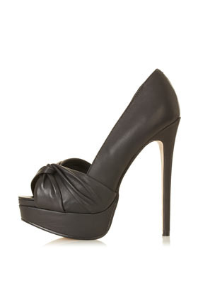 Sylvie Knot Front Heels - predominant colour: black; occasions: evening, occasion; material: leather; heel height: high; heel: stiletto; toe: open toe/peeptoe; style: courts; finish: plain; pattern: plain; embellishment: pleated; shoe detail: platform; season: s/s 2013