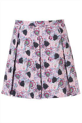 Panther Print Skirt - length: mid thigh; fit: tailored/fitted; style: pleated; waist: mid/regular rise; predominant colour: lilac; occasions: casual, evening, work, holiday; fibres: cotton - stretch; hip detail: adds bulk at the hips; texture group: cotton feel fabrics; trends: high impact florals, statement prints; pattern type: fabric; pattern: florals; season: s/s 2013; pattern size: standard (bottom)