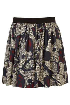 Full Floral Swoosh Skirt - length: mid thigh; style: full/prom skirt; fit: loose/voluminous; waist detail: elasticated waist; waist: mid/regular rise; predominant colour: black; occasions: casual, evening, work, occasion, holiday; fibres: cotton - 100%; hip detail: soft pleats at hip/draping at hip/flared at hip; texture group: cotton feel fabrics; trends: high impact florals, volume, modern geometrics; pattern type: fabric; pattern: florals; season: s/s 2013; pattern size: standard (bottom)