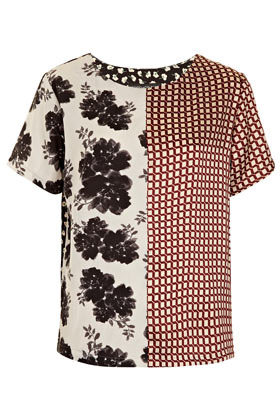 Tall Half/Half Floral Tee - neckline: round neck; style: t-shirt; back detail: contrast pattern/fabric at back; predominant colour: black; occasions: casual, evening, work; length: standard; fibres: polyester/polyamide - 100%; fit: straight cut; sleeve length: short sleeve; sleeve style: standard; texture group: crepes; trends: statement prints; pattern type: fabric; pattern size: standard; pattern: patterned/print; season: s/s 2013