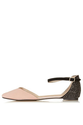 Marnie 2 Part Pointed Shoes - predominant colour: nude; occasions: casual, evening, work, holiday; material: suede; heel height: flat; embellishment: studs; ankle detail: ankle strap; toe: pointed toe; style: ballerinas / pumps; finish: plain; pattern: two-tone; season: s/s 2013