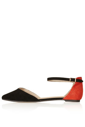 Marnie 2 Part Pointed Shoes - predominant colour: black; occasions: casual, evening, work, holiday; material: suede; heel height: flat; ankle detail: ankle strap; toe: pointed toe; style: ballerinas / pumps; finish: plain; pattern: two-tone; season: s/s 2013