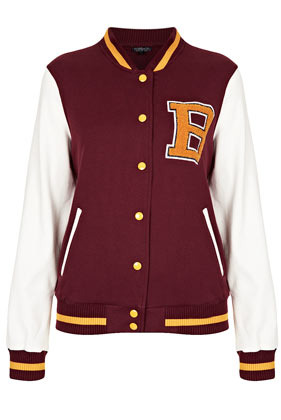 Jersey Varsity Bomber Jacket - collar: high neck; style: bomber; predominant colour: burgundy; occasions: casual; length: standard; fit: straight cut (boxy); fibres: cotton - 100%; bust detail: contrast pattern/fabric/detail at bust; sleeve length: long sleeve; sleeve style: standard; collar break: high; pattern type: fabric; pattern size: light/subtle; pattern: colourblock; texture group: jersey - stretchy/drapey; season: s/s 2013