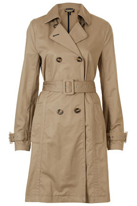 Unlined Seamed Trench Coat - pattern: plain; style: trench coat; length: mid thigh; predominant colour: stone; occasions: casual, evening, work; fit: tailored/fitted; fibres: cotton - 100%; collar: shirt collar/peter pan/zip with opening; waist detail: belted waist/tie at waist/drawstring; sleeve length: long sleeve; sleeve style: standard; collar break: high/illusion of break when open; pattern type: fabric; pattern size: standard; texture group: other - light to midweight; season: s/s 2013; hip detail: side pockets at hip