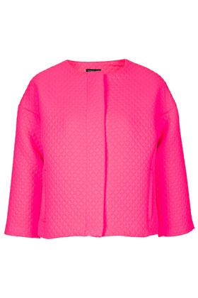 Quilted Ovoid Crop Jacket - pattern: plain; collar: round collar/collarless; style: boxy; predominant colour: hot pink; occasions: casual, evening, work, occasion; fit: straight cut (boxy); fibres: polyester/polyamide - 100%; sleeve length: 3/4 length; sleeve style: standard; texture group: structured shiny - satin/tafetta/silk etc.; trends: fluorescent; collar break: high; pattern type: fabric; pattern size: standard; season: s/s 2013; length: cropped