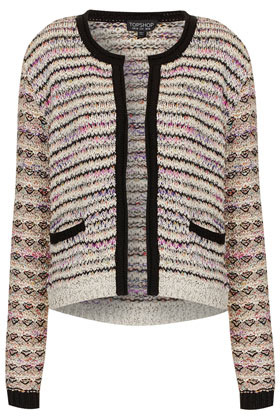 Knitted Mixed Yarn Jacket - pattern: horizontal stripes; collar: round collar/collarless; style: boxy; occasions: casual, work; length: standard; fit: straight cut (boxy); fibres: cotton - mix; predominant colour: multicoloured; sleeve length: long sleeve; sleeve style: standard; texture group: knits/crochet; collar break: medium; pattern type: fabric; pattern size: standard; season: s/s 2013; multicoloured: multicoloured