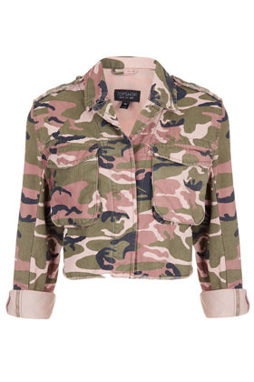 Pink Camo Cropped Jacket - style: cropped; collar: high neck; predominant colour: khaki; occasions: casual; fit: straight cut (boxy); fibres: cotton - 100%; shoulder detail: discreet epaulette; sleeve length: 3/4 length; sleeve style: standard; texture group: cotton feel fabrics; collar break: high; pattern type: fabric; pattern size: standard; pattern: patterned/print; season: s/s 2013; length: cropped