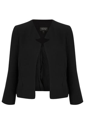 Crepe Notch Neck Jacket - pattern: plain; style: single breasted blazer; collar: standard lapel/rever collar; predominant colour: black; occasions: casual, evening, work, occasion; length: standard; fit: tailored/fitted; fibres: polyester/polyamide - 100%; sleeve length: long sleeve; sleeve style: standard; collar break: low/open; pattern type: fabric; pattern size: standard; texture group: other - light to midweight; season: s/s 2013