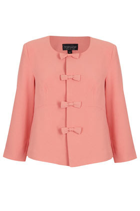 Bow Front Crop Jacket - pattern: plain; style: single breasted blazer; bust detail: added detail/embellishment at bust; collar: high neck; predominant colour: pink; occasions: evening, work, occasion; length: standard; fit: straight cut (boxy); fibres: polyester/polyamide - stretch; sleeve length: 3/4 length; sleeve style: standard; collar break: high; pattern type: fabric; pattern size: standard; texture group: other - light to midweight; season: s/s 2013