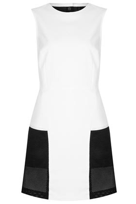 Sporty Mesh Panel Dress Boutique - style: shift; length: mid thigh; fit: fitted at waist; sleeve style: sleeveless; waist detail: fitted waist; hip detail: front pockets at hip; bust detail: ruching/gathering/draping/layers/pintuck pleats at bust; predominant colour: white; occasions: casual, evening, occasion, holiday; fibres: cotton - mix; neckline: crew; sleeve length: sleeveless; trends: sporty redux; pattern type: fabric; pattern size: standard; pattern: colourblock; texture group: jersey - stretchy/drapey; season: s/s 2013