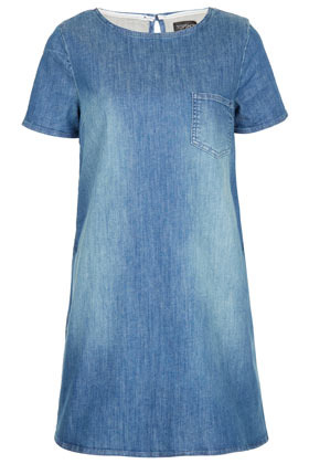Pocket Denim Swing Dress - style: shift; length: mid thigh; neckline: round neck; pattern: plain; bust detail: added detail/embellishment at bust; predominant colour: denim; occasions: casual; fit: soft a-line; fibres: cotton - stretch; back detail: keyhole/peephole detail at back; sleeve length: short sleeve; sleeve style: standard; texture group: denim; pattern type: fabric; season: s/s 2013