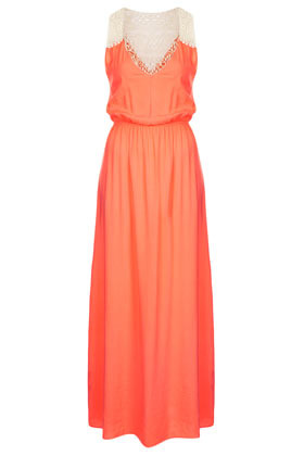 Tangerine Maxi Cover Up - neckline: low v-neck; fit: fitted at waist; pattern: plain; sleeve style: sleeveless; style: maxi dress; waist detail: elasticated waist; predominant colour: bright orange; occasions: casual, evening, occasion, holiday; length: floor length; fibres: polyester/polyamide - 100%; hip detail: subtle/flattering hip detail; sleeve length: sleeveless; texture group: sheer fabrics/chiffon/organza etc.; pattern type: fabric; embellishment: lace; season: s/s 2013; wardrobe: highlight; embellishment location: back