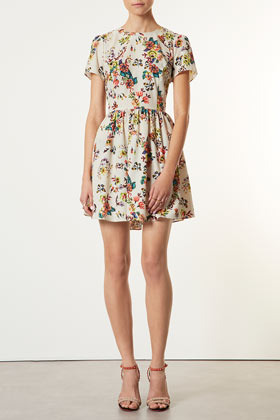 Tapestry Dress - length: mid thigh; predominant colour: ivory/cream; occasions: casual, creative work; fit: fitted at waist & bust; style: fit & flare; fibres: polyester/polyamide - 100%; neckline: crew; hip detail: ruching/gathering at hip; sleeve length: short sleeve; sleeve style: standard; texture group: cotton feel fabrics; pattern type: fabric; pattern size: light/subtle; pattern: florals; season: s/s 2013
