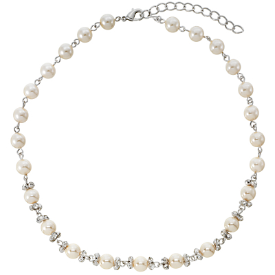 White Pearl And Cubic Zirconia Necklace - predominant colour: white; secondary colour: silver; occasions: evening, work, occasion; length: short; size: standard; material: chain/metal; finish: plain; embellishment: pearls; season: s/s 2013; style: bead